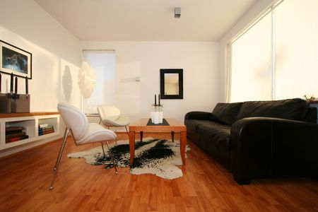 living room, with black leather sofa, mirror on wall, and photo, white chairs very trendy Stock Photo