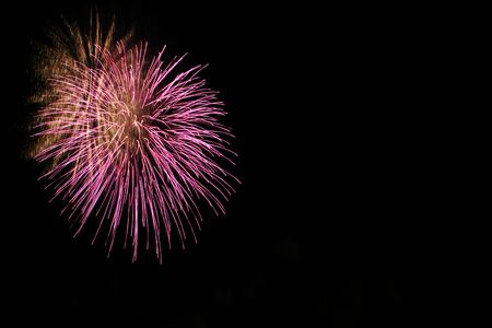 colorful fireworks with some copy space to the right Stock Photo - 1080375
