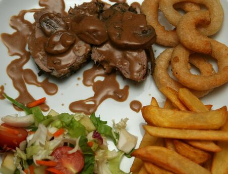 A dinner plate with a nice piece of meat with sauce on it, on the side Steakhouse fries, onion rings and salad, cropped shot Stock Photo - 1080448
