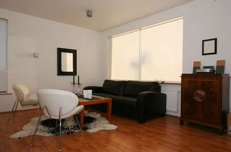 Trendy living room, decor in mostly black and white with a hardwood floor, very modern with one  Stock Photo