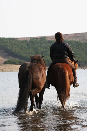 rider riding two horses and crossing river