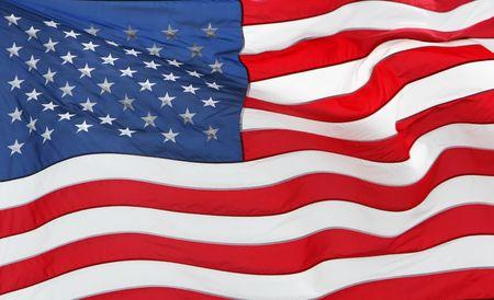 full frame of the US flag flying