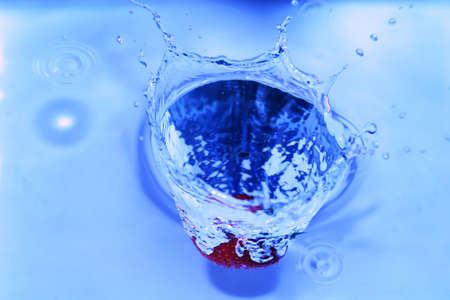 Strawberry dropped into water making a splash, macro shot Stock Photo - 1148228
