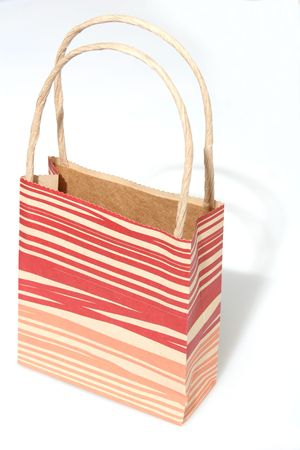 paperbag: Empty red striped paperbag isolated on white Stock Photo