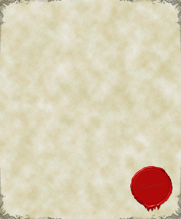 sceau cire rouge: Un certificat papier avec cachets de cire rouge et des fronti�res  Banque d'images
