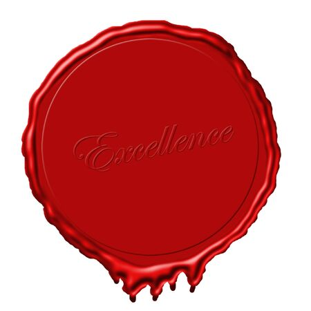 beeswaxseals: a red wax seal with excellence written in the wax Stock Photo