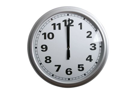 12 oclock: A stylish wall clock showing 12 oclock, isolated on white  Stock Photo