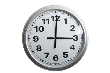 oclock: A stylish wall clock showing 3 oclock, isolated on white