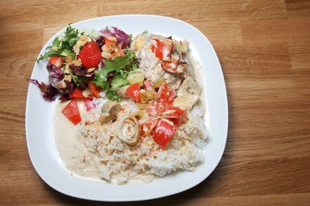 plate of ready to eat chicken with rice and salad Stock Photo - 2166183