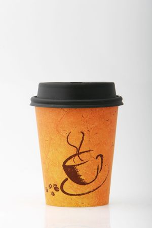 coffee to go cup shot on white Stock Photo
