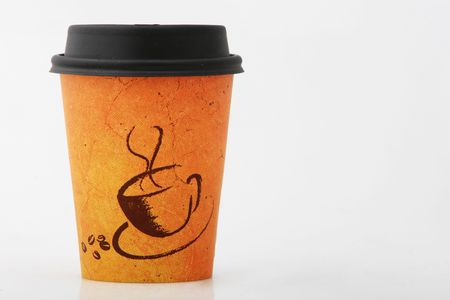 caf� � emporter: caf� pour aller tir� sur le blanc, avec espace de copie