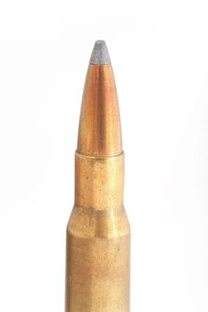 caliber: top half of a rifle bullet, big caliber 30-06, isolated on white