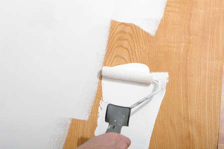 paintjob: painter painting woodpanel white Stock Photo