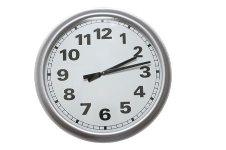 aluminum wall clock isolated on white