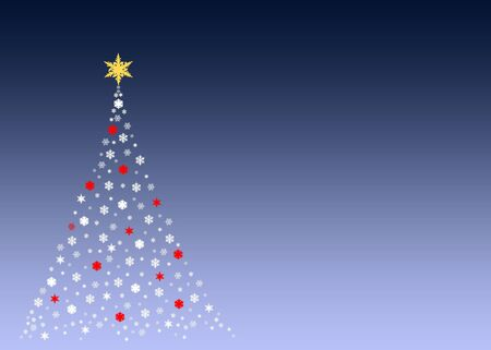 An illustration of a christmas tree formed by white symbols made out of real snowflakes Stock Illustration - 2948340