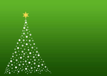 An illustration of a christmas tree formed by white  symbols made out of real snowflakes Stock Illustration - 2948343