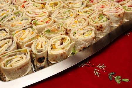 a plate full of snack sized mexican wraps Stock Photo - 2948372