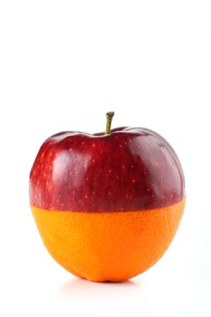 apple and orange cut in half and fit together on white