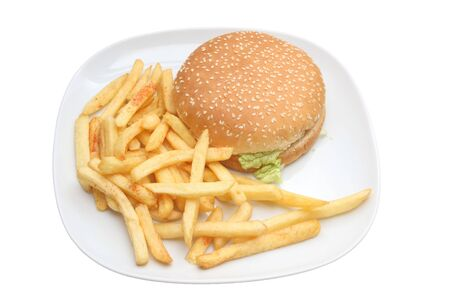 Hamburger and fries on white, on white dish, very tasty looking Stock Photo - 3393422