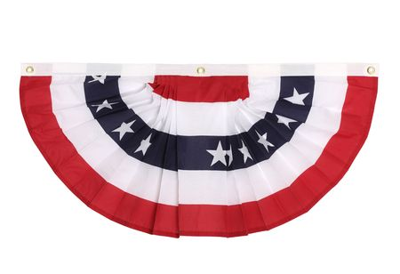 A US flag colored bunting decoration as is popular in major US holidays, isolated on white Standard-Bild