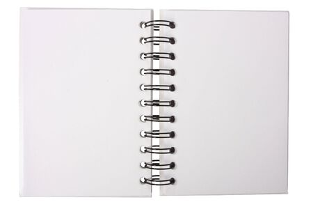 White notebook with black ring binders, isolated on white, open in the middle