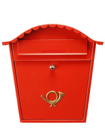 Traditional red mailbox isolated on white, shot in studio. Fantastic color and detail Standard-Bild
