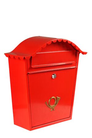 Red mailbox shot in studio from an angle, isolated on white  Stock Photo