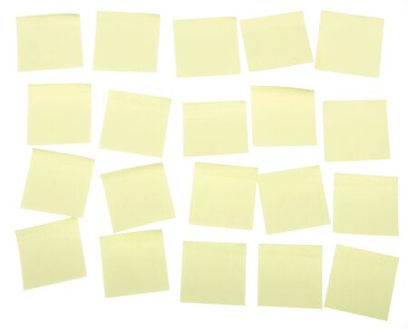 post it note: Yellow post it notes on a white background, put your own text on them