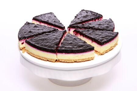 Blueberry cheesecake slices on white
