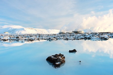 The geothermal powerstation at the Blue lagoon Iceland, taken in winter on a beuatiful calm day. Very serene landscape
