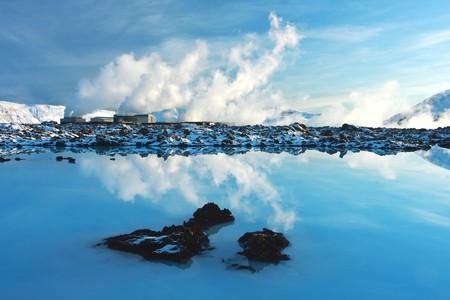 블루 석호 아이슬란드, beuatiful 진정한 하루에 겨울에 찍은 지 열 powerstation. 매우 고요한 풍경