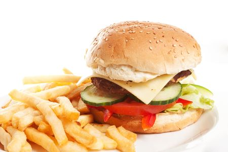Hamburger with french fries on a dinner plate Stock Photo - 6827511