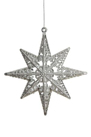 Silver star hanging from a chain isolated on white, studio shot Stock Photo - 6827501