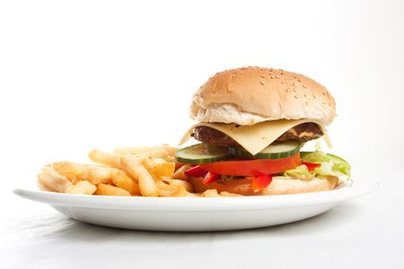 Hamburger with french fries on a dinner plate Stock Photo - 6827411