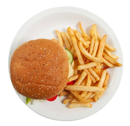 Cheeseburger on dinner plate with french fries isolated on white Stock Photo - 6827425
