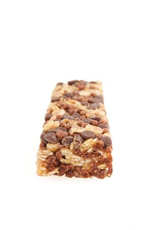 crunchy: Healthy protein bar isolated on white