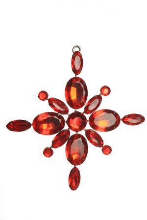 jeweled: Red jeweled decoration isolated on white