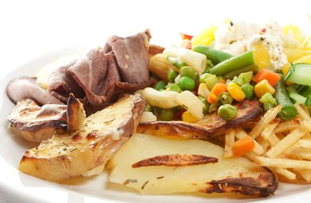 Roast beef with salad, potatoes and bernaise sauce isolated on white. Stock Photo - 6827413