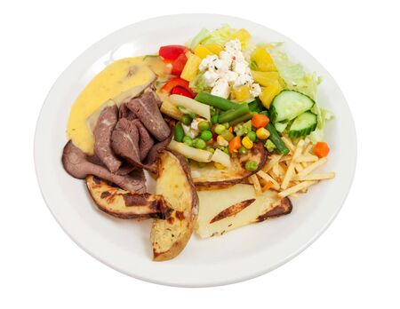 Roast beef with salad, potatoes and bernaise sauce isolated on white. Stock Photo - 6827453
