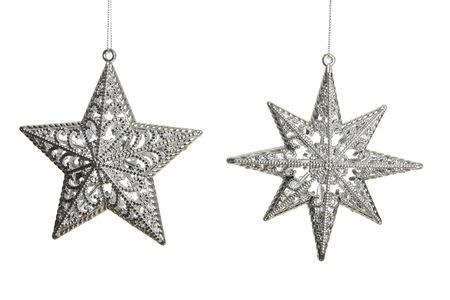 Silver stars haning on a chain isolated on white shot in studio