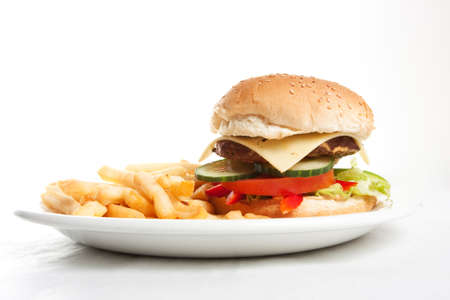 Hamburger with french fries on a dinner plate Stock Photo - 9856609