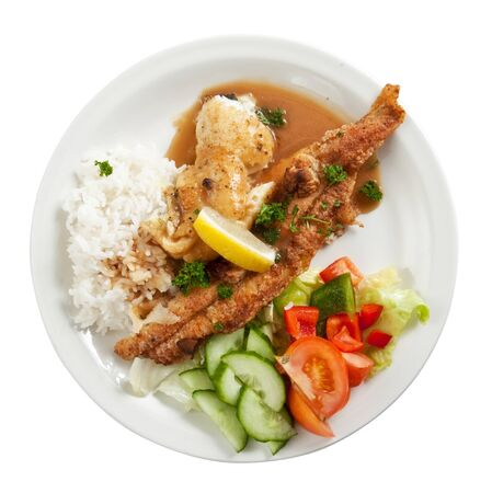 Plate of fried fish fillets with rice and salad isolated on white Stock Photo - 9856608