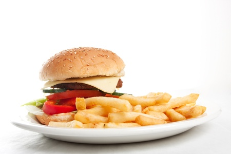Hamburger with french fries on a dinner plate Stock Photo - 9856607