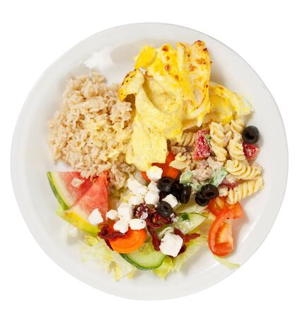 A plate of ovenbaked fish with brown rice and salad, epitomy of a healthy diet Stock Photo - 9856612