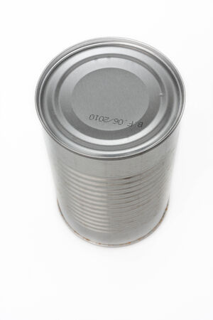 canned food: Canned food isolated on white, no label shot at 45 degrees from above Stock Photo