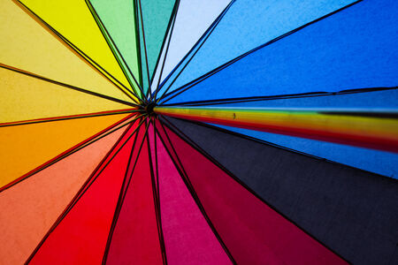 gay pride rainbow: colorful shot of the inside of an umbrella in the symbolic colors of gay rights