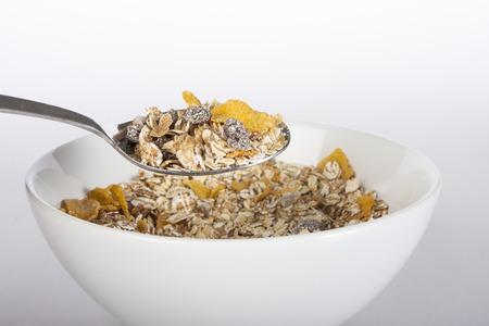 diet healthy: Bol de muesli perfecto para un concepto de una dieta saludable Foto de archivo