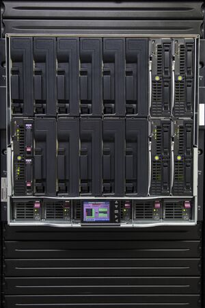Hard disk array for a server in a corporate network cabinet photo