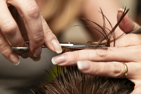 Close up of a haircut at a hair saloon