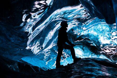 jokulsarlon: Inside an icecave in Vatnajokull, Iceland  Stock Photo